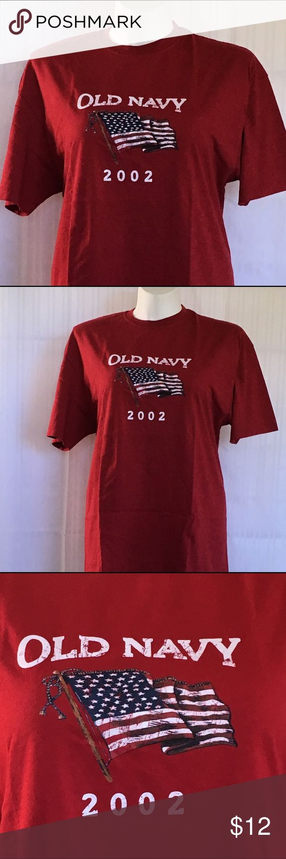 NWOT vintage red American flag Old Navy tee NWOT vintage red American flag 2002 Old Navy tee. Unisex (men's) size XL. 100% super soft cotton. Measurements available upon request. 🚫No holds 🚫No Lowball Offers 🚫No Trades ✅Please submit reasonable offers via the offer button or 🎁 bundle & save! Old Navy Shirts Tees - Short Sleeve
