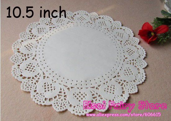 Wholesale 10.5 inch (200pcs) Romantic Embossed Round Paper doily Cake Doilies  Free shipping