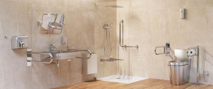 Wyposażenie toalet publicznych - dozowniki, pojemniki, przewijaki, suszarki, kosze, stelaże, umywalki, uchwyty i poręcze - FanEco