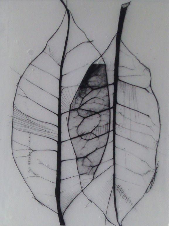 Benjamin del Castillo ::  Leaves organic - skeletal leaves in encaustic