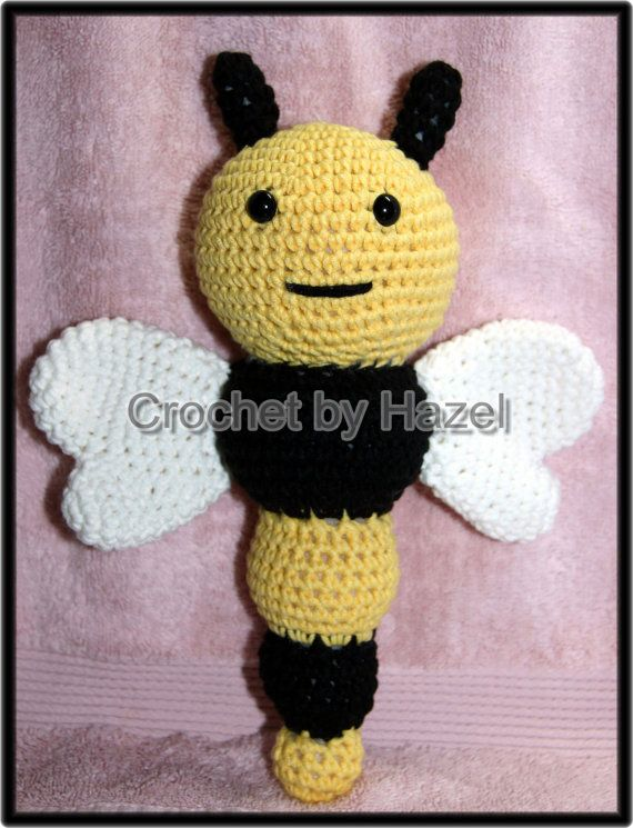 Crochet Bee Rattle by HazelCrochet on Etsy