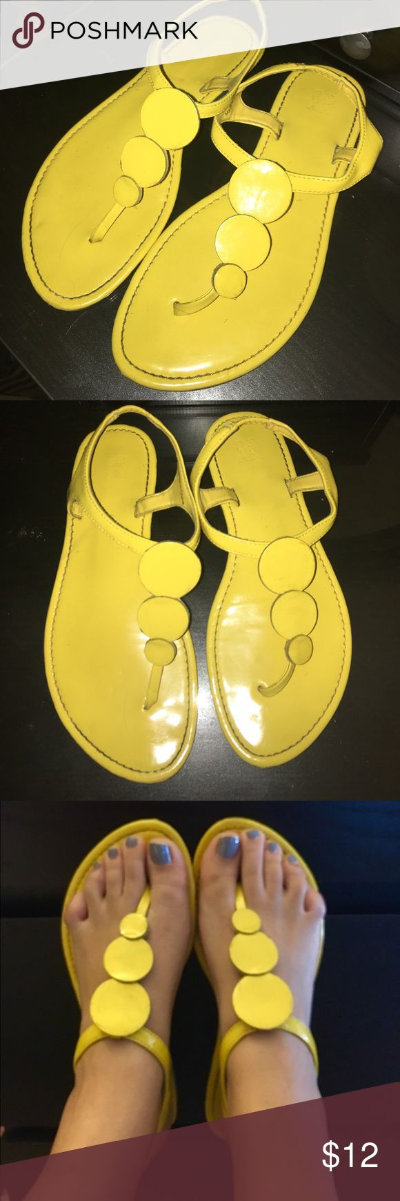 Comfortable yellow sandals Comfortable and bright yellow sandals. Perfect for spring/summer. Will compliment a sundress, jeans or any look! Only worn a few times. New York & Company Shoes Sandals