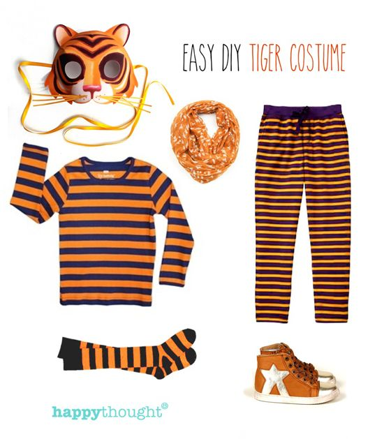 Tiger, tiger! 10 Animal costume ideas - Easy last minute tiger costume with tiger mask #costume #tigermask #happythought happythought.co.uk/craft/animal-costume-ideas