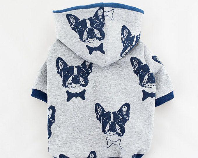 Hecho a mano suéter de perro perro con capucha (ropa para perros de tamaño pequeño), ropa para perros, para mascotas ropa, bulldog francés