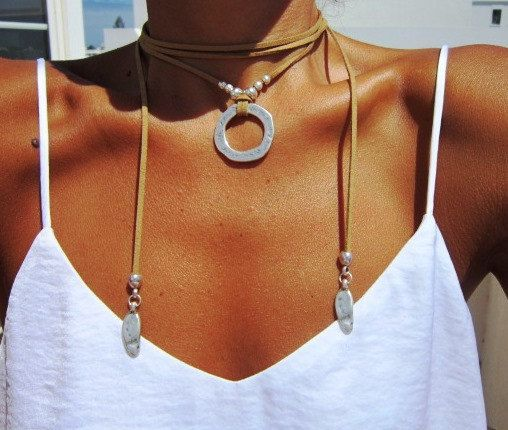cool wrap minimalist necklace, Leather necklace with bohemian silver pendant, tribal ...