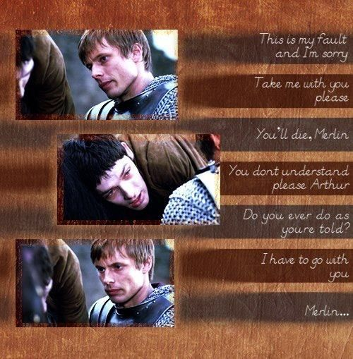 """Merlin The show that began it all again for me in Bromance. Merlin and Arthur. If you ever want to see the affection Arthur has for Merlin in this series, just watch his expression after Merlin rides off in this scene from """"Darkest Hour Part 2"""" season 4. That look speaks volumes. :)"""