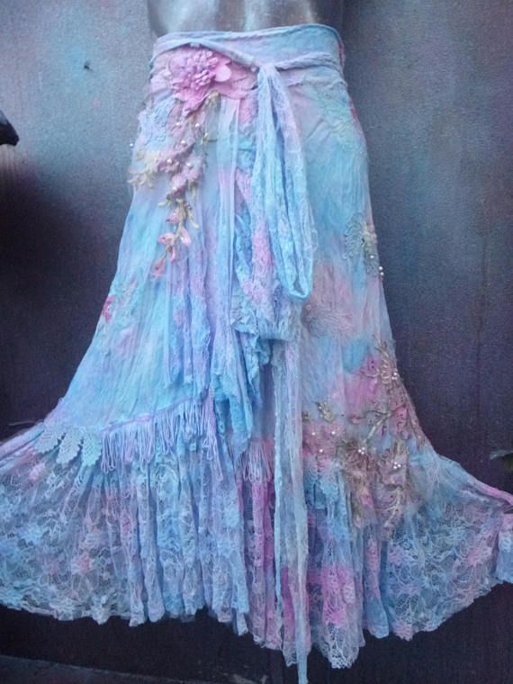 wedding skirt,tattered skirt, stevie nicks, bohemian skirt, boho skirt, gypsy skirt, lagenlook skirt,OAK, shabby wrap skirt.. she,s a romantic wrap around shabby skirt based on ivory stretch floral print fabric sprayed over with lilac,pink and blue hues and kissed with ruffles of