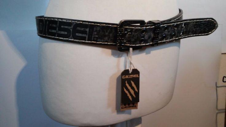 """Men's Belt DIESEL Black Leather  Spain metal letters 100cm/115 cm  waist  39-45"""" #Diesel"""