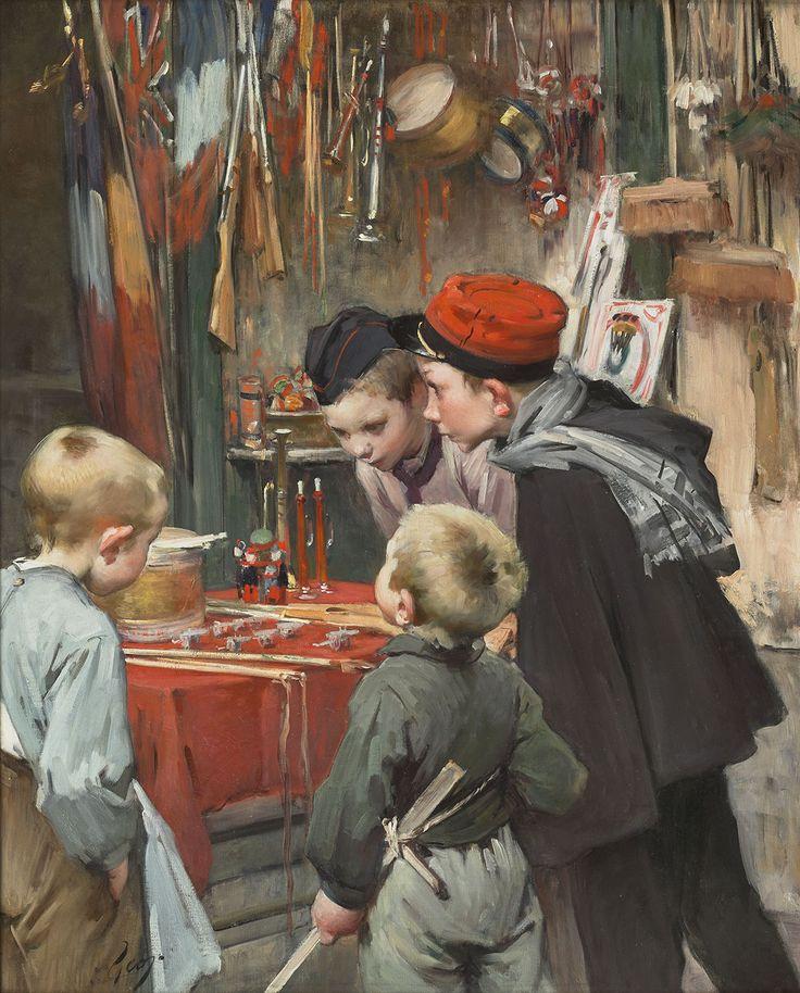 """Henri Jules Jean Geoffroy dit Geo - Les étrennes de guerre - 1915. A cette époque, on croyait encore que la guerre finirait vite, """"encore une bataille !"""", et l'imagerie est idyllique. Plus tard, Geo peindra des tableaux plus durs des enfants touchés par la guerre. Beaucoup furent déclinés en cartes postales."""