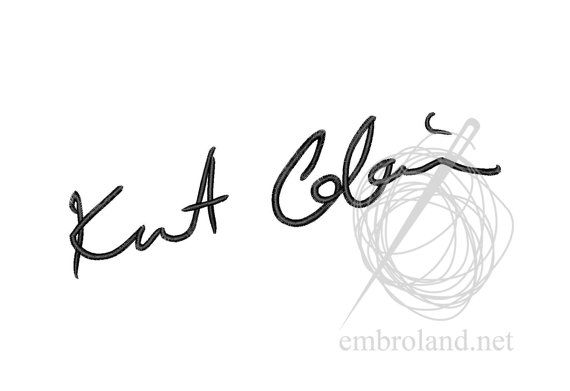 Kurt Cobain Signature Autograph Machine Embroidery Design