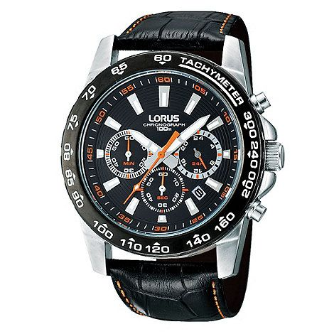 Lorus Men's Black Chronograph Dial Mock-Crocodile Strap Watch- at Debenhams.com