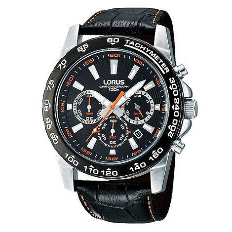 Lorus Men's Black Chronograph Dial Mock-Crocodile Strap Watch- at Debenhams.com