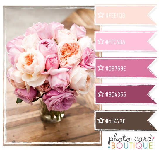 Pink, plum and chocolate brown color palette.