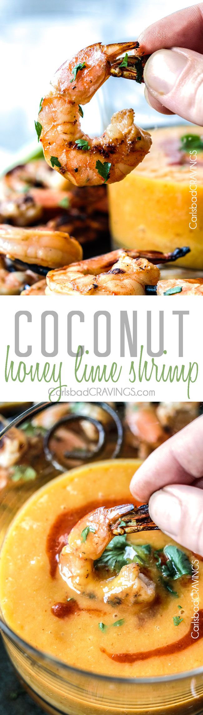Easy grilled or stovetop Coconut Honey Lime Shrimp bursting with flavor bathed in the most intoxicating creamy sweet heat Sriracha Mango Dip.   better than any restaurant!