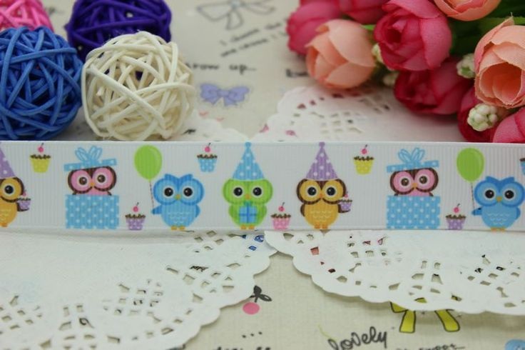 New 7/8'' Free shipping owl cupcake printed grosgrain ribbon hairbow party decoration wholesale OEM 22mm H2118
