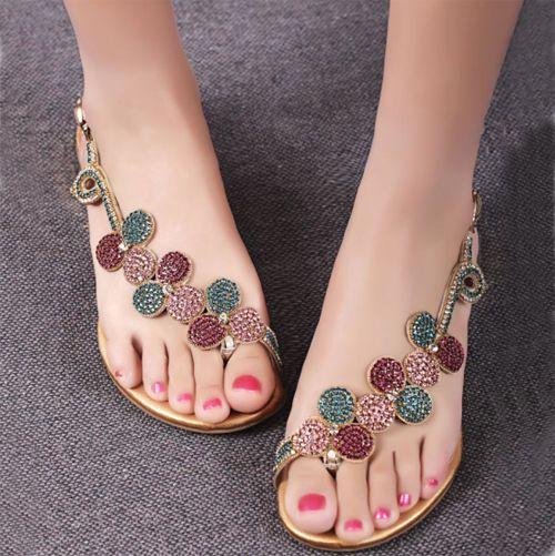 Incrível brilhando rasteirinha com flor de strass - Shoespie.com