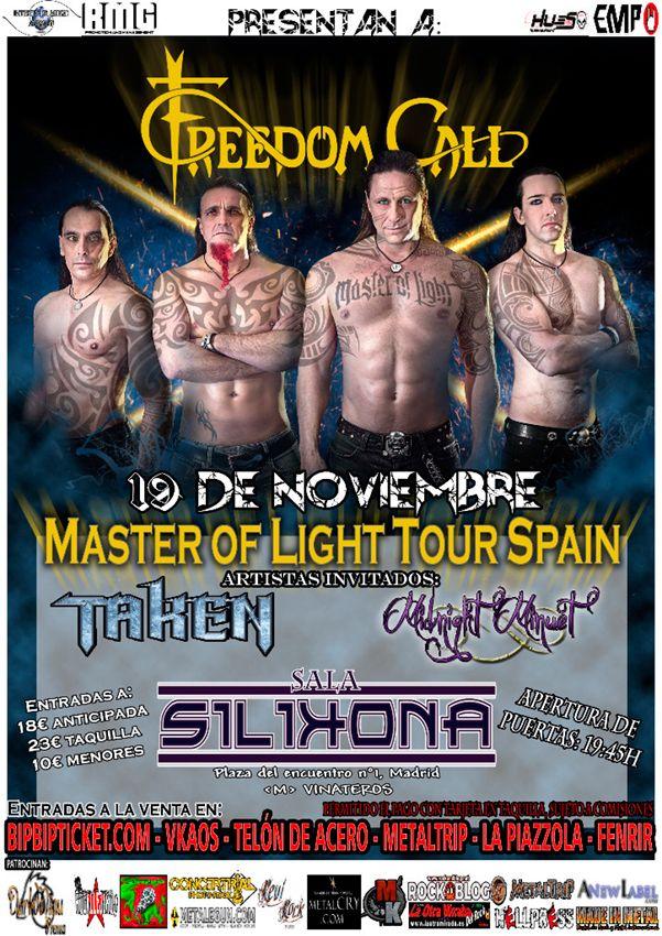 """Freedom Call presentan en Madrid """"Master of Light"""" junto a Taken y Midnight Minuet"""
