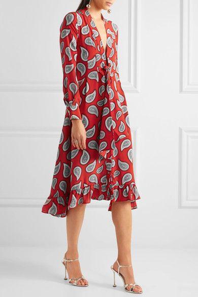 Dodo Bar Or | Lennon paisley-print silk-crepe midi dress | NET-A-PORTER.COM