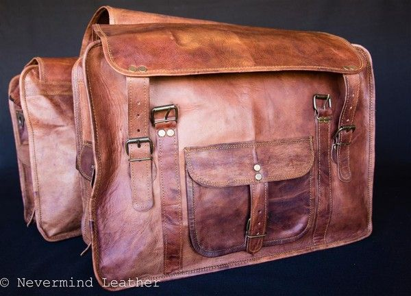 This vintage saddle bag will hand over your bicycle or motorbike and will fit everything in the two bags. Purchase this bag from Aussies products online store.
