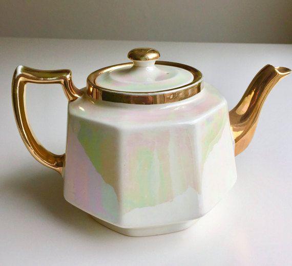 Stylish vintage lustre teapot HJ Wood late 1940s
