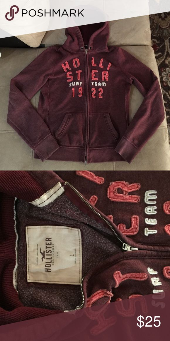 Hollister jacket Hollister zip up hoodie Burgundy/maroon color, ladies large, like new Hollister Jackets & Coats