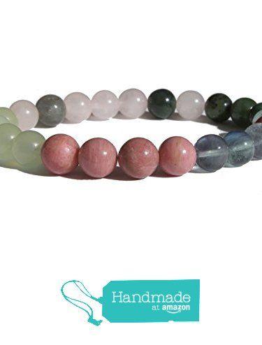 "ZENstore Heart Chakra Healing Bracelet Natural Gemstones size 0.3"" 8mm Rose Quartz Rhodonite Green Fluorite Green Jade Serpentine Labradorite Love Compassion Happiness from ZENstore https://www.amazon.com/dp/B071G3NT2M/ref=hnd_sw_r_pi_dp_wbrozbF98F80F #handmadeatamazon  #Zenstore #chakra #gemstone #jewellery #fashion"