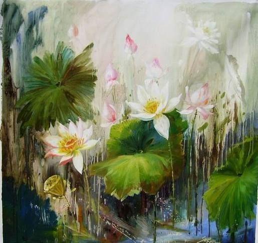 Lotus Art Artist Refine Gallery Lotus Oil Painting