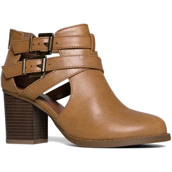 J. Adams Camel Buckle-Accent Bootie (€21) ❤ liked on Polyvore featuring shoes, boots, ankle booties, ankle boots, cut-out ankle boots, strappy ankle boots, chunky heel ankle boots, high heel ankle boots and chunky heel booties