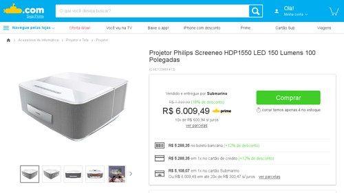 [Submarino] Projetor Philips Screeneo HDP1550 LED 150 Lumens 100 Polegadas por R$ 5.288,35