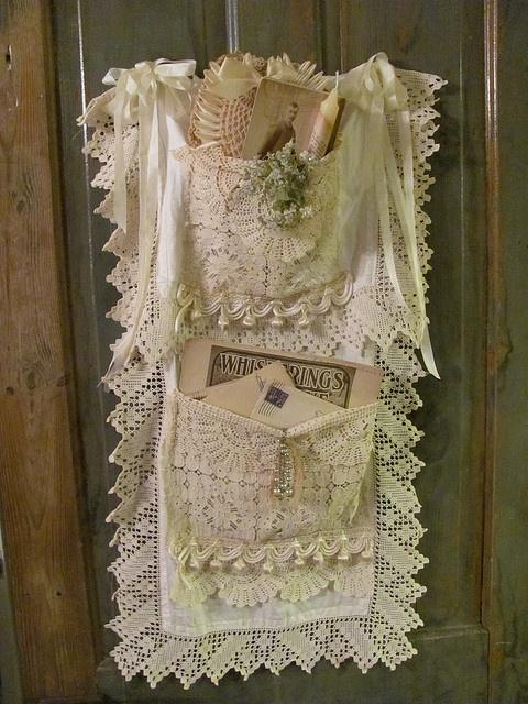 Pocketed vintage lace Door hanger