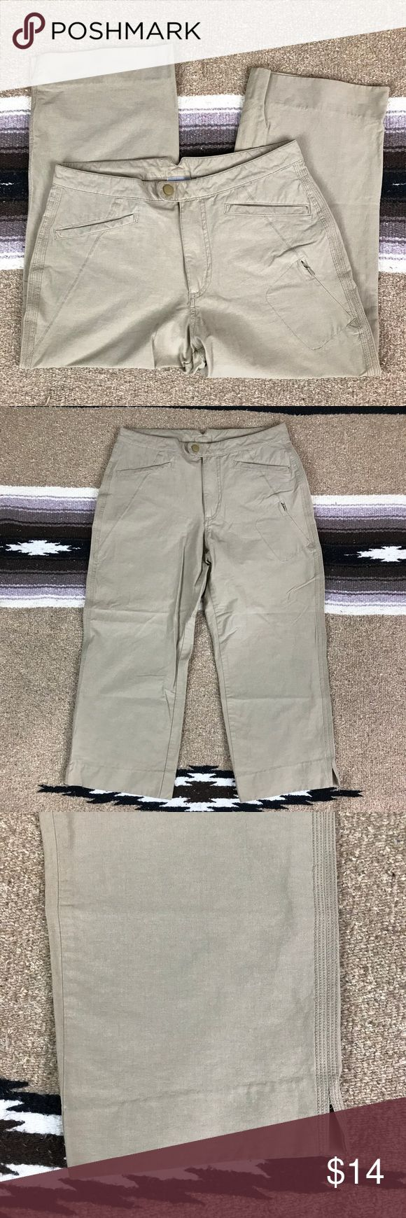 "Columbia Tan Hiking Outdoor Capri Pants, Size 8 - Columbia Sportswear Company - Women's size 8 - In good condition! - Cotton/polyester - Waist: 30"" - Rise: 10"" - Inseam: 20.5"" - Length: 30.5"" Columbia Pants Capris"