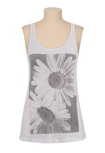 black and white daisy print tank (original price, $24) available at #Maurices