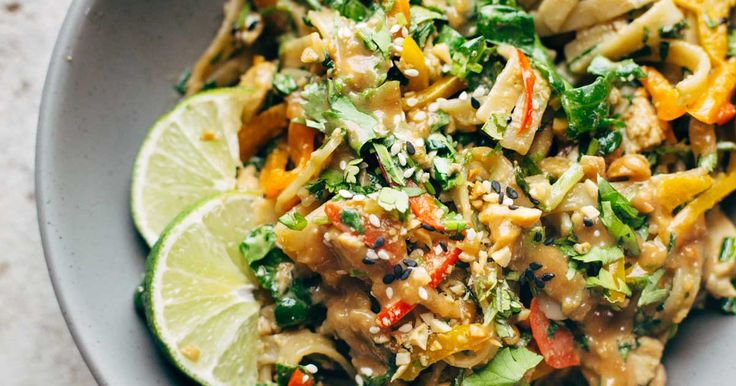 Thai Noodle Salad with Peanut Lime Dressing - veggies, chicken, brown rice noodles, and an easy homemade dressing. My favorite salad ever!