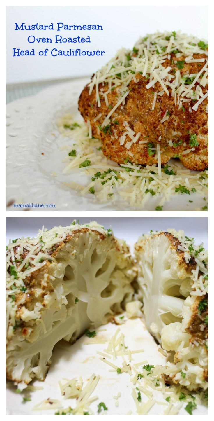 Mustard Parmesan Oven Roasted Head of Cauliflower is easy to make and tastes delicious.