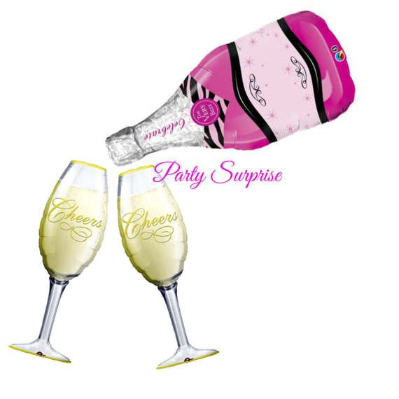 Pink Champagne Bottle Cheers Champagne Glass by PartySurprise