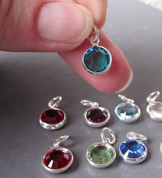 Swarovski Birthstone Charm 8mm Large Swarovski Crystal Silver Etsy In 2020 Birthstone Charms Swarovski Crystals Interchangeable Earrings