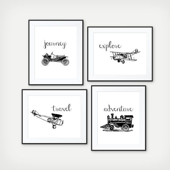 Explore the World - Transportation Prints, Kids Room Decor, Playroom Decor, Train, Air Plane, Classic Car, Nursery Print, Set of 4 Prints