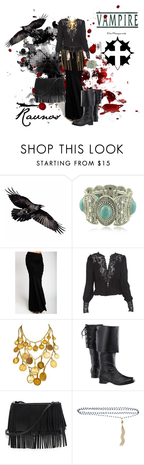 """""""Set #1409 - Vampire: The Masquerade - Clan Ravnos"""" by the-walking-doctor ❤ liked on Polyvore featuring Masquerade, Haute Hippie, Yves Saint Laurent, White House Black Market, Rosantica, Religion Clothing, women's clothing, women, female and woman"""