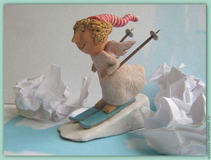 Купить Зимний ангел - подарок 2013, ангел, фигурки ангелов, лыжи, лыжник, зимний спорт