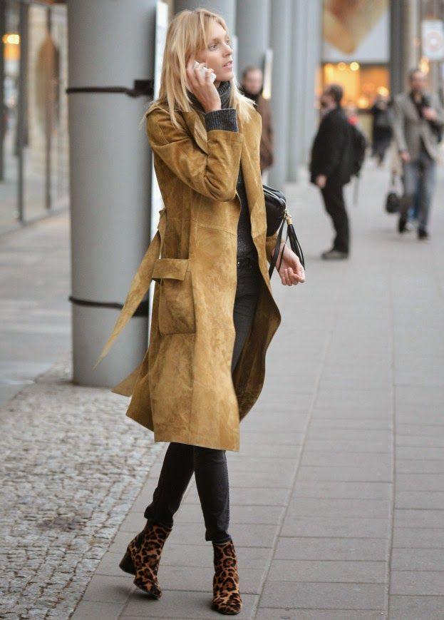 Suede jacket & leopard boots.