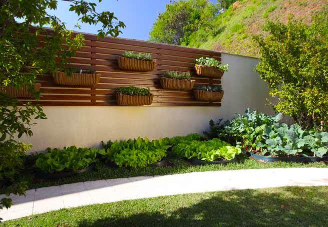 Um belo modelo de jardim com horta em que os vegetais se confundem com folhagens