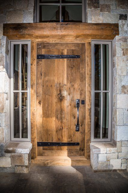 Entry door made with reclaimed wood. L & L Reclaimed Wood, LLC