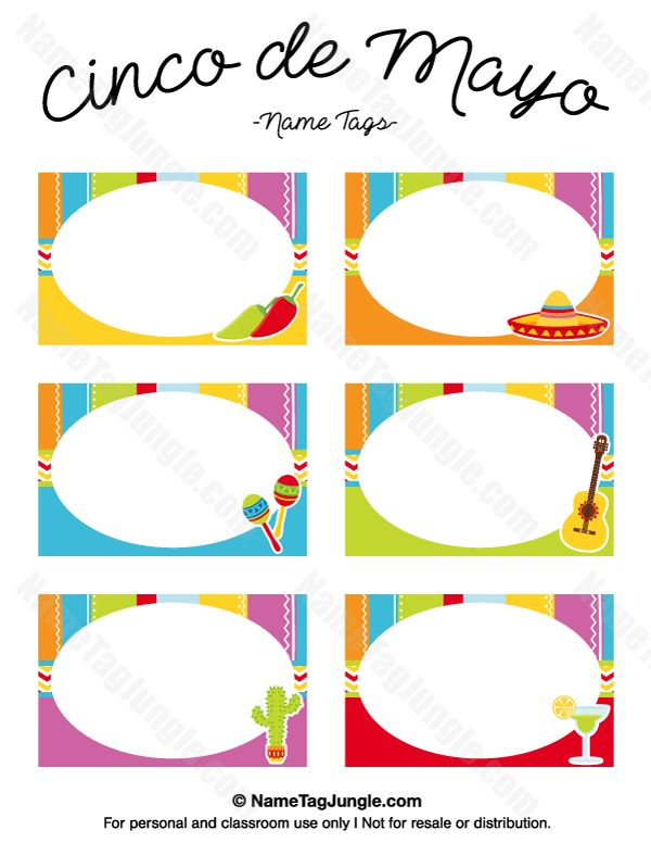 Free printable Cinco de Mayo name tags. The template can also be used for creating items like labels and place cards. Download the PDF at http://nametagjungle.com/name-tag/cinco-de-mayo/