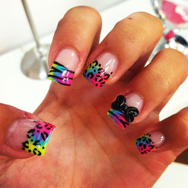 237 best nails images on pinterest hairstyles hair and black animal print acrylic nails with rainbow ombr colors as the background and a bow cheetah nail art zebra nail design tayler would lovee these prinsesfo Image collections