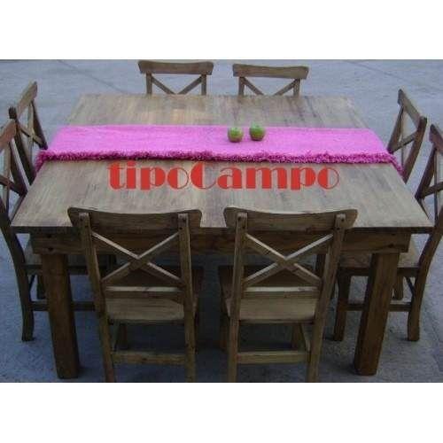mesa cuadrada, mesa campo, mesa pino 1.20 x 1.20 + 8 sillas