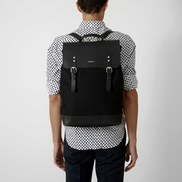 Sandqvist | Hege, Black: Backpack in cotton canvas and leather