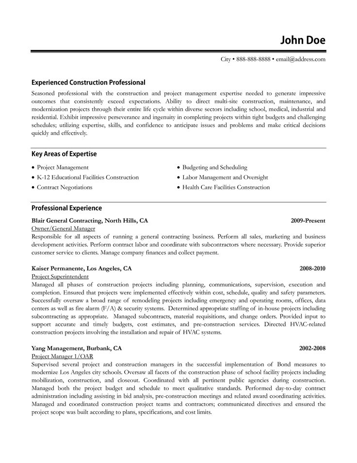 Construction manager resume sample how to draft a
