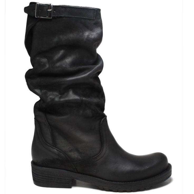 Art Bik/M Nero - Stivali a metà polpaccio in vera pelle nabuk nero 100% Artigianale Made in Italy Collezione Autunno Inverno 16-17