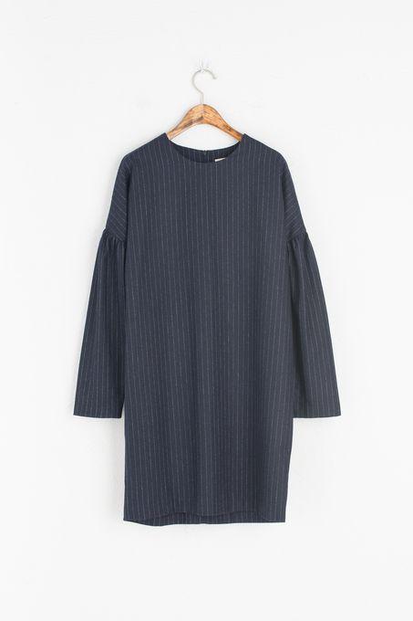 Stripe Puff Sleeve Dress, Navy