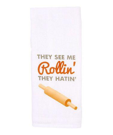'They See Me Rollin'' Kitchen Towel #zulilyfinds